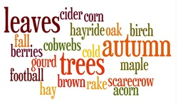Word collage of autumn and leaves words.
