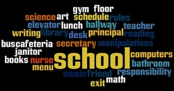 Word collage of welcome back to school words.