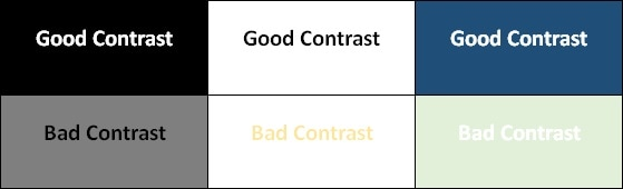 examples of good and bad contrast