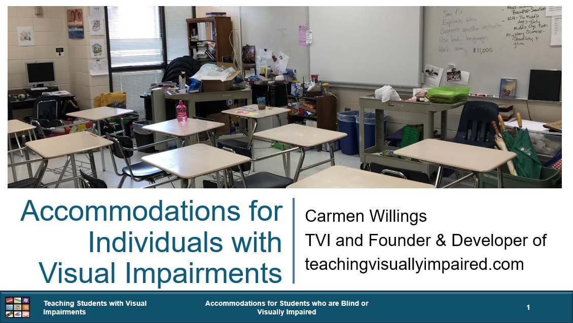 Cover of Accommodations for Individuals with Visual Impairments with a picture of an empty classroom filled with desks