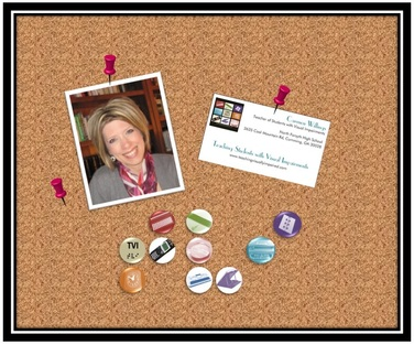 bulletin board with picture of Carmen, card and pins forming TVI in braille