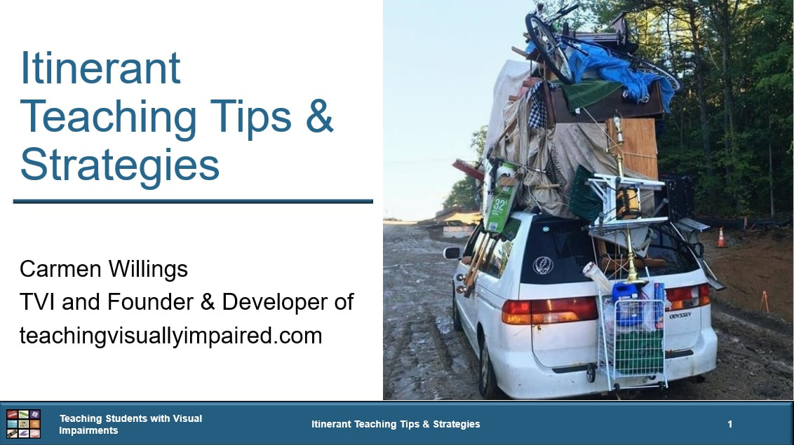 Cover of Itinerant Teaching Tips and Strategies with a picture of a car with luggage on the roof