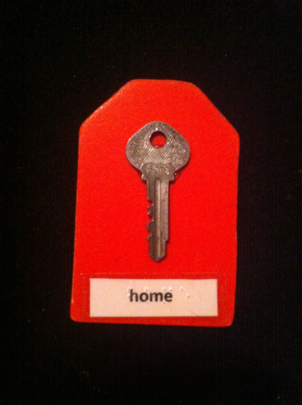 home label with key glued to the card