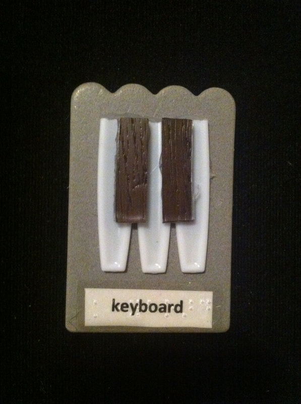 keyboard label with bottom of plastic spoons and wooden pieces glued to card