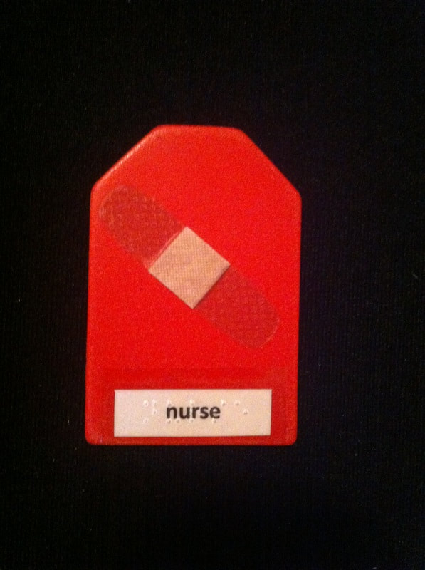 nurse label with bandaid stuck to card