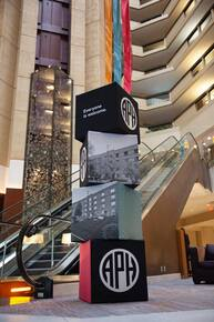 APH images and logo on large blocks in the center of the Hyatt Regency Hotel in Louisville, KY