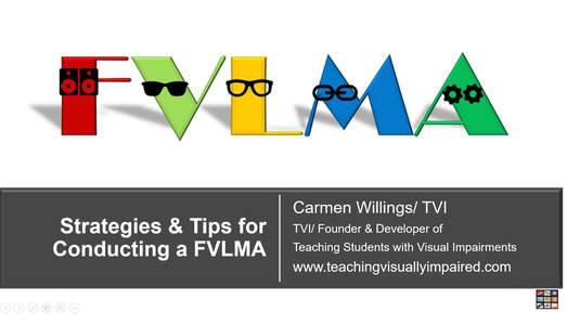 Cover slide of Strategies and Tips for Conducting the FVLMA with the letters FVLMA in different colors and each wearing glasses