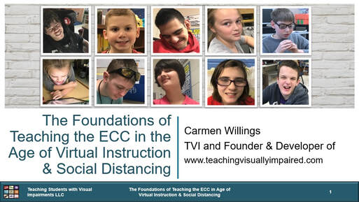 Cover slide of The Foundations of Teaching the ECC in the Age of Virtual Instruction & Social Distancing with images of ten students with visual impairments against a brick wall