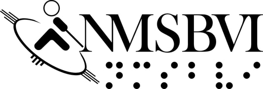 New Mexico School for the Blind and Visually Impaired logo with NMSBVI in braille and an icon of a person walking with a white cane