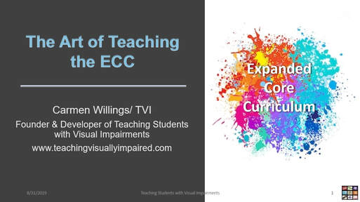 cover slide of the Art of Teaching the ECC with paint splatters under the words Expanded Core Curriculum