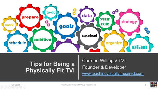 Cover slide for Tips for Being a Physically Fit TVI