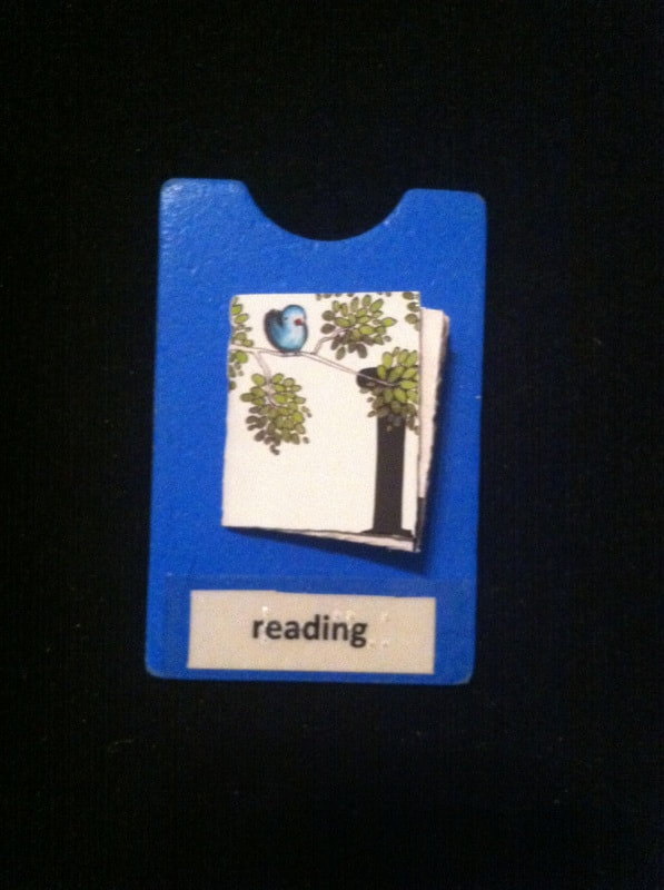 reading label with book glued to card