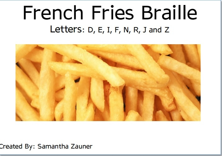 French Fries Braille Game