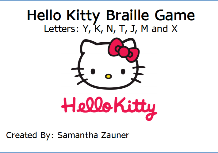 Hello Kitty Braille Game