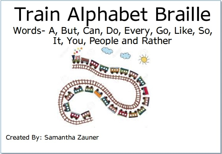 Train Alphabet Braille File Folder Cover